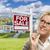 jonge · vrouw · huis · verkoop · teken · aantrekkelijk · halfbloed - stockfoto © feverpitch