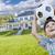 guapo · sonriendo · nino · nino · balón · de · fútbol - foto stock © feverpitch