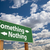 something nothing green road sign over clouds stock photo © feverpitch