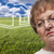Melancholy Senior Woman with Grass Field and Ghosted House Behin stock photo © feverpitch