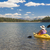 woman kayaking on beautiful mountain lake stock photo © feverpitch