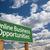 evden · çalışma · yeşil · yol · işareti · bulutlar · dramatik · gökyüzü - stok fotoğraf © feverpitch