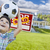 Boy Holding Ball In Front of House and Sold Sign stock photo © feverpitch