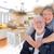 couple · de · personnes · âgées · cuisine · design · dessin · photo · blanche - photo stock © feverpitch