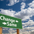 change same green road sign over clouds stock photo © feverpitch