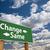 mudar · verde · placa · sinalizadora · nuvens · à · frente · dramático - foto stock © feverpitch