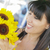 bastante · italiano · mujer · mirando · girasoles · mercado - foto stock © feverpitch
