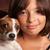 pretty hispanic girl and her puppy studio portrait stock photo © feverpitch