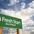a fresh start green road sign over clouds stock photo © feverpitch