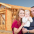 young military family outside their new home framing stock photo © feverpitch