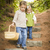 two children walking down wood steps with basket outside stock photo © feverpitch
