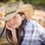 menina · retrato · chapéu · de · cowboy · abóbora - foto stock © feverpitch