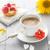 xícara · de · café · leite · doce · sobremesa · bolo · morangos - foto stock © fotoaloja