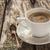 coffee cup black wooden board brown pines white stock photo © fotoaloja