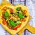 pizza shape heart wooden background stock photo © fotoaloja