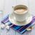 blanche · tasse · fort · matin · café · grains · de · café - photo stock © fotoaloja