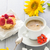coffee cup milk sweet dessert cake strawberries sunflower rowan stock photo © fotoaloja