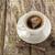 coffee cup black wooden board brown white stock photo © fotoaloja
