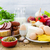 composition grocery products dairy vegetables fruits meat stock photo © fotoaloja