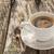 白 · コーヒーカップ · 豆 · 素朴な · 表 · 木製のテーブル - ストックフォト © fotoaloja