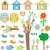 set birds with birdhouses owls trees and flowers stock photo © fotoscool