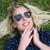 mulher · grama · verde · coração · verão · sorrir · feliz - foto stock © fouroaks
