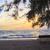 chaise · en · bois · coucher · du · soleil · plage · lac · ciel · paysage - photo stock © frameangel