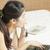 nyugodt · nő · telefonál · néz · hálószoba · arc · haj - stock fotó © frameangel