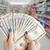 nő · fizet · USA · dollár · pénz · bankjegyek - stock fotó © frameangel