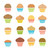 vector flat icons of chocolate and fruit muffins homemade cakes stock photo © freesoulproduction