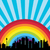 vector city rainbow and clouds in the sky stock photo © freesoulproduction