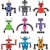 vector set of robots of various shapes and colors stock photo © freesoulproduction