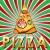 vector italian pizza slice on shiny retro background stock photo © freesoulproduction
