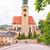 kilátás · öreg · katolikus · templom · zöld · piros - stock fotó © frimufilms