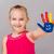 aranyos · lány · kezek · fehér · papír · mosoly - stock fotó © gabor_galovtsik