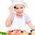 девочку · пиццы · улыбаясь · белый · девушки - Сток-фото © gekaskr
