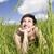 vrouw · gras · vrouwen · zomer · veld · glimlachend - stockfoto © gemenacom