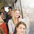 kadın · telefonu · mutlu · kadın · pencere · zaman · otobüs - stok fotoğraf © gemenacom