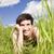 glimlachende · vrouw · gras · vrouwen · zomer · veld - stockfoto © gemenacom