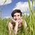 glimlachende · vrouw · gras · vrouwen · zomer · veld · glimlachend - stockfoto © gemenacom