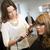 cheveux · portrait · brunette · séance · lit · fille - photo stock © gemenacom