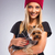 beautiful woman with autumn fashion holding yorkshire terrier dog stock photo © geribody