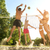 amigos · jogar · praia · voleibol · uma · menina · estratégia - foto stock © geribody