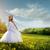 gyönyörű · fiatal · menyasszony · esküvői · ruha · virág · koszorú - stock fotó © geribody