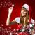 mooi · meisje · geschenk · kerstman · kleding · meisje - stockfoto © geribody