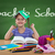 happy little girl in the school bench behind back to school sign on the blackboard stock photo © geribody