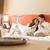 gülen · çift · şampanya · gözlük · yatak · otel - stok fotoğraf © geribody