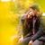 kochający · para · jesienią · parku · posiedzenia · ławce - zdjęcia stock © geribody