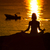 силуэта · женщину · йога · пляж · закат · небе - Сток-фото © Geribody
