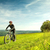 sport bike woman in a beautiful meadow fabulous scenery stock photo © geribody
